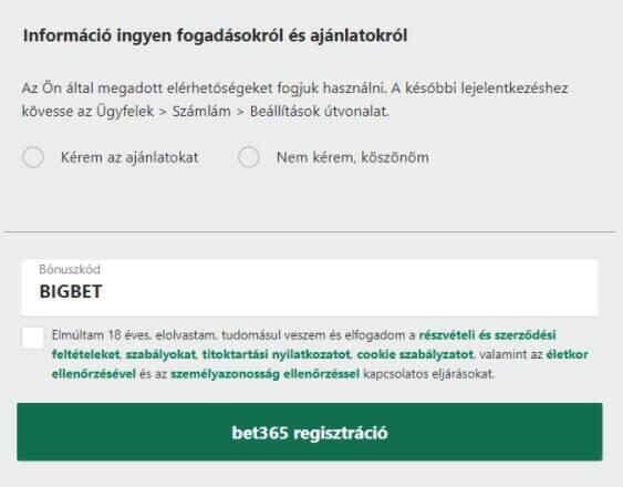bet365 bónuszkód BIGBET - bet365 regisztráció